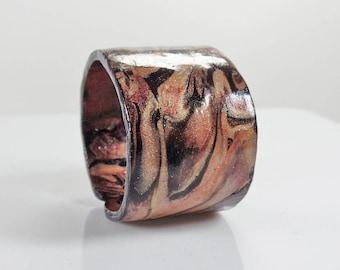 Polymer clay cuff bracelet adjustable, marbled gold, copper, bronze, black