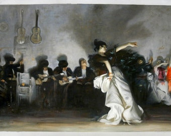 El Jaleo -John Singer Sargent hand-painted oil painting reproduction,Gypsy Dancer in White Skirt,Music Room Wall Art,Coffee House Decoration