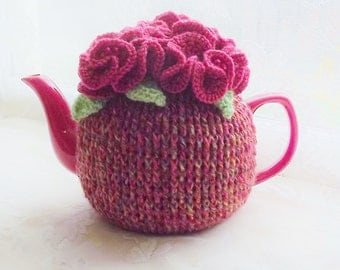 Pink Tea Cozy, Red Tea Cozy, Carnation Tea Cozy, Rosy Posy Cozy,   4 - 6 Cup Crochet Teapot  Cozy