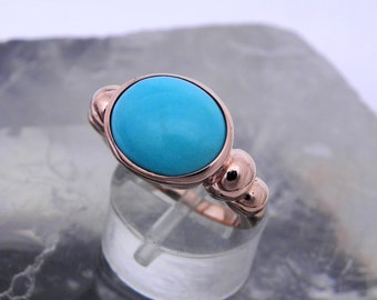 AAAAA 18K gold Sleeping beauty Robins Egg Blue Turquoise from Arizona  12x10mm   Flawless Natural Untreated in 18K Rose gold ring.