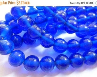 On Sale Vintage Japanese Handmade Royal Blue Round Glass Beads 10mm (20)