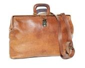 Vintage Brown Leather Metal Frame Briefcase Work Bag