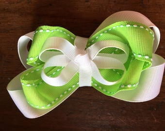 Lime Hair Bow Green and White