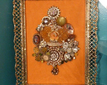 Gorgeous Vintage Inspired OOAK Orange Framed Jewelry Christmas Tree Small Size