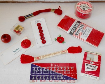 Vintage Red Sewing Notions Collection, Vintage Sewing Supplies, Red Buttons, Red Zipper