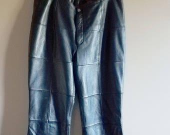 Patchwork Black Leather Straight Leg Pants Size Large