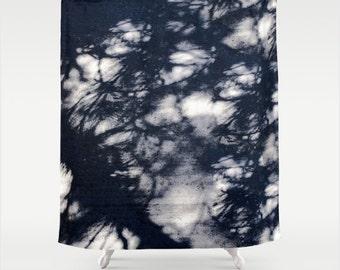 Fabric Shower Curtain Dark Blue Pine Tree Branch Shadows on Grey Urban Cement Sidewalk Surface Manipulated Photography