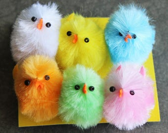 6 Large Chenille Chicks - Assorted Chenille Chicks in Pink, Yellow, Blue, Orange, Mint, White - Vintage Style Easter Basket Decorations