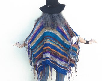 Hip Length Shaman Robe Poncho Hand Knit One of a Kind Ruana Shawl
