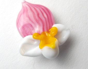PINK LADY SLIPPER Orchid Flower Focal sculptural lampwork bead sjs sra
