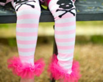 Pink & White Skull - Girls Ruffle Tutu Leg Warmers Perfect for babys and girls up to size 6