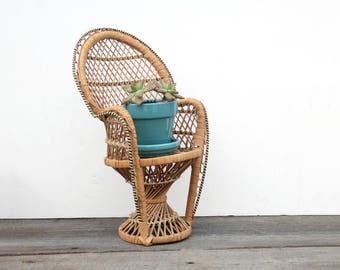 Vintage Miniature Wicker Peacock Chair Plant Stand