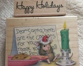 House Mouse Rubber Stamp - Christmas - Dear Santa: I ate all of your cookies