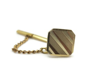 Gold Stripe Tie Tack - Gold Tone Costume Jewelry, Mens Accessory, Grooms Gift