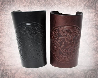 Leather Bracers - Celtic Hounds Bracers, Adjustable Leather Cuff, Black Bracers, Black Leather Cuff - Custom to You (1 cuff only)