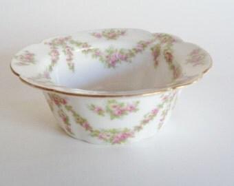 T & V Limoges Porcelain Pink  Floral Ramekin