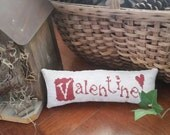 Valentine Cross Stitch Pillow Complete Ready to Ship