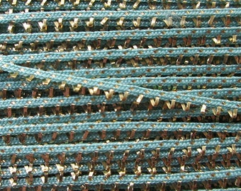 Delicate Tiny Narrow Rayon & Metallic Trim In Gold And Aqua 2 Yards For Doll Clothes Ornaments  T 14