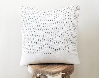 Rain Design / Hand Printed Linen Throw Pillow Cover / Home Decor Pillows