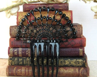 French jet antique hair comb stunning large Victorian mourning hair comb