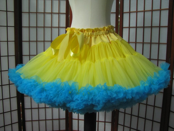 Pettiskirt Yellow and Turquoise Size Small Custom