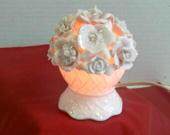 Porceline Floral  Night Light - Ceramic - Vintage - - Cottage Chic