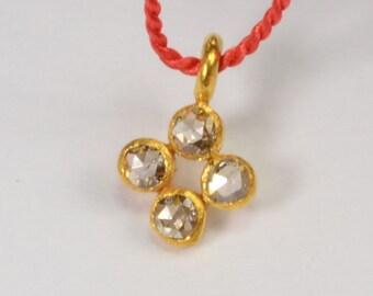 6mmx9mm 18k Solid Yellow Gold Rose Cut Champagne Diamond Charm Pendant