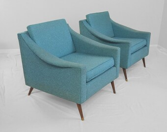 2 mid century modern LAWRENCE PEABODY style lounge chairs