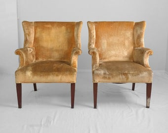 20% SALE 2 mid century golden velvet GEORGIAN style WING chairs