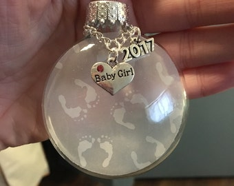 """Gender Reveal Ornament, Baby Feet Footprint Vellum, """"Baby Girl"""" or """"Baby Boy"""" Heart Charm, 2017 Charm, Baby's First Christmas Ornament Gift"""