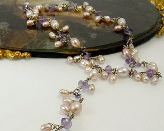 Sterling Silver Freshwater Pearl Amethyst Necklace Peach Lilac Bridal Necklace