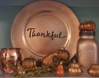 Thankful Decal Thanksgiving Seasonal Decor Faith Vinyl Wall Art Wall Quote