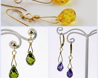 Cubic Zirconia Earrings - Purple - Green - Yellow - Gold-Filled - Dangle - Less is more jewelry