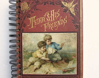Journal, Notebook, Recycled Book Journal, Vintage Book Journal, Sketchbook, Altered Book, Blank Book, Teddy & His Friends, Pencil Drawings