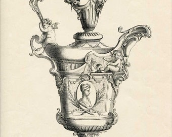 Antique 1860's Victorian Precious Art Objects Decorative Illustration, Engraved Print for Framing, Ornate Urn w Cameo Portrait, Cherubs