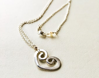 Heart Necklace, Silver Heart Necklace, Gold Heart Necklace, Layering Heart Necklace, Open Heart Necklace, Layering Necklace