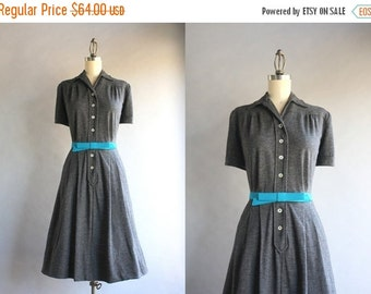 STOREWIDE SALE 1940s Dress / Vintage 40s Wool Jersey Dress / Forties Knit Shirtwaist Dress