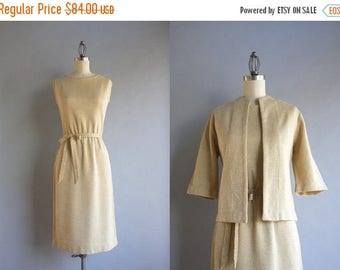 STOREWIDE SALE Vintage Greta Plattry Dress / 1960s Metallic Gold Knit Dress / 50s Greta Plattry Holiday Dress