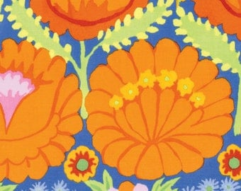 Kaffe Fassett Artisan Embroidered Flower Border Orange Fabric 1 yard