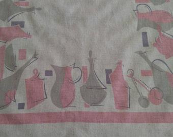 Vintage Midcentury Pink Grey Kitchen Tea Dish Towel