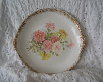 Vintage Plate ~ Flowers Carnations Cake Handled ~ W.E.P. Co.