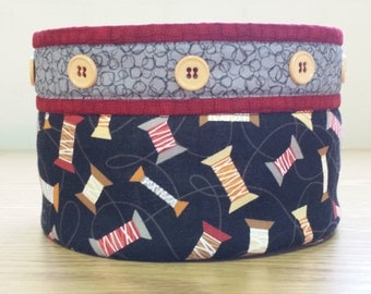Quilted Fabric Bowl - Spools of Thread (EDQB24)