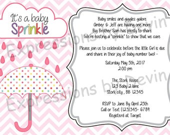 Umberlla Sprinkle  Baby Shower Girl Themed  5x7 Digtial Invitaion