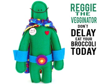 "The Mefits Reggie the Vegginator Doll & Storybook ""Don't delay eat your broccoli today!"""