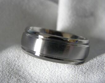 Titanium Ring or Wedding Band, 8mm, size 5, Brushed/Polished Finish, Clearance Price Listing