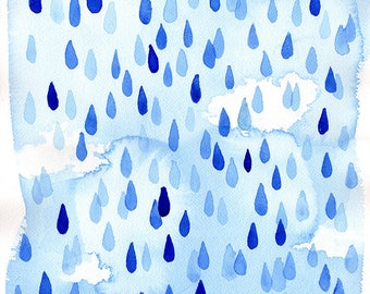 Raindrops Archival Wall Art Print Kids Decor Blue