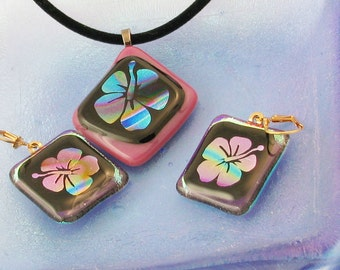 Exotic hibiscus pendant or earrings - dichroic jewelry - hibiscus necklace - flower pendant - OOAK (3130-3154)