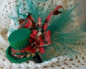 Christmas Green and Red Mini top hat, Plaid Ribbon, netting, poinsettia, gold