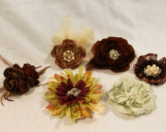 Vintage Couture Handmade Flower Pieces-Hairpin-Brooch-Bridal Belt Adornment-Hairpiece-CRBoggs Original Design