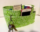 "Purse Organizer Insert/Enclosed Bottom  4"" Depth/ Lime Green and White"